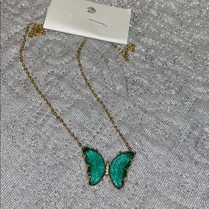 Gorgeous turquoise crystal butterfly necklace